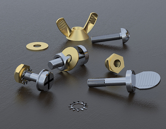 MODEL: Free Download 3D Models – Screws, Nuts, and Bolts   Sketchup